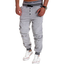 Out Door Men Pants Sportswear Sweatpants Front Button Loose Style Drop Crotch Pants Drawstring Trousers Pantalones B008