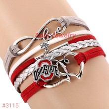 Infinity Love Ohio State Buckeyes College Football Bracelet 2016 New Leather Bracelet Fans Jewelry 6Pcs/Lot ! Free Shipping!