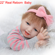 "22"" real reborn baby dolls by NPK girl silicone baby dolls miniature doll for kids gift bebe girl reborn bonecas"