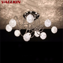 VALLKIN Modern LED Ceiling Light Indoor Ceiling Lamp Luxurious Aluminium Wire Ball Lamps Fixtures 10 Lights(China)