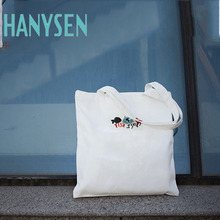 HANYSEN 2017 Hot Sale Summer Cartoon Fish And Cat Pattern Printing Canvas Soft Totes Fashion Fresh Art Model Shopping Bags
