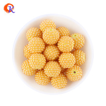 Cordial Design 100Pcs/Lot 20MM Dark Yellow Color Pearl Rhinestone Ball Bubblegum Beads For Chunky Necklace Accessory CDWB-701292(China)