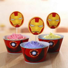 superhero party birthday toppers party decoration baby kids the avengers birthday cake decorating supplies cupcake wrapper(China)