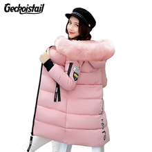 Geckoistail Warm Fur Fashion Hooded Quilted Coat Winter Jacket Women 2017 Zipper Down Cotton Parka Plus Size Slim Outwear T0923(China)