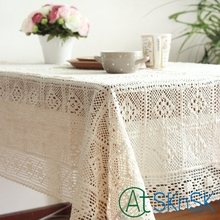 Off White/Beige Color Shabby Chic Vintage Crocheted Tablecloth Handmade Crochet Coasters Linen Cotton Fabric