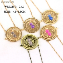 Hot Sale 5 Colors Hourglass Time Turner Pendant Necklace Hermione Granger Rotating Spins Sweater Chain For Women And Men
