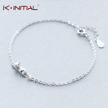 Kinitial 1Pcs 2017 Cute Cat Charm Bracelets 925 Silver Bracelet Girl Cool Animal Cats Statement Hand Wrist Cuff Bangle Jewelry