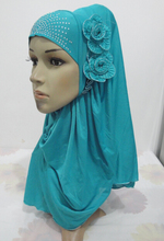H965 latest muslim hijab with 2 pieces flowers,mixed colors,fast delivery(China)