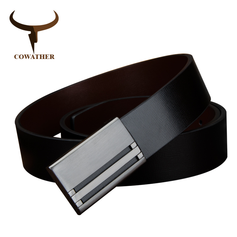 COWATHER men belt cow genuine leather color starp male belts for high metal plate buckle 2017 NEW hot sale good quality(China)