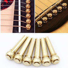 6pcs Acoustic Guitar String Bridge Pins Solid Copper Brass Endpin Replacement Parts Accessories with Pack(China)