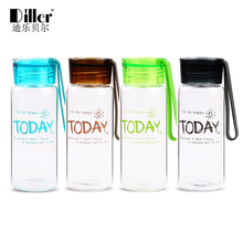 Diller 280ML Students Glass Bottles For Drinking Water Shaker Portable With Rope High Quality Garrafa Eco-Friendly Drink Bottle