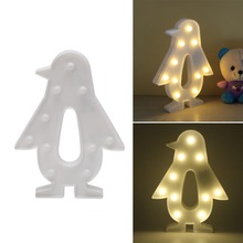 3D Marquee Lamp With 10 LED Battery Operated Warm White Penguin Night Light Indoor Lighting