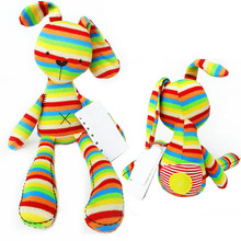 Baby kids bunny rabbit sleeping comfort doll rainbow strip plush toys huge soft baby lovely animal brinquedos total length 50cm(China)