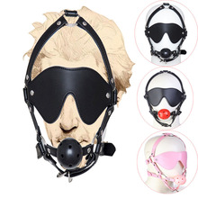 Buy Bdsm PU Leather Head Harness Mouth Gag Eye Mask ,Erotic Breathe Hard Ball Mouth Gag,Adult Sex Toys Couples Bondage Restraint