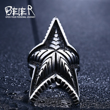 Beier new store 316L Stainless Steel ring high quality Cool Punk Gothic Start 3D Design Factory Price fashion jewelry LLBR8-413R