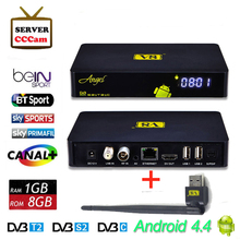 Freesat DVB-S2/T2 V8 Angel Satellite Receive+1pc USB Wifi 4K Support IPTV 1G/8G Android 4.4 Smart Tv Box with 1 year Free Cccam
