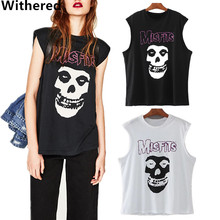 Withered women summer t-shirt european and american 100% cotton punk skull printing sleeveless o-neck vest t-shirt women tops