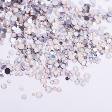 1pack Mix Sizes  Glass White Opal Crystal Non Hotfix Flatback Rhinestones Nail Rhinestones Nails Accessorie Nail Art Decoration