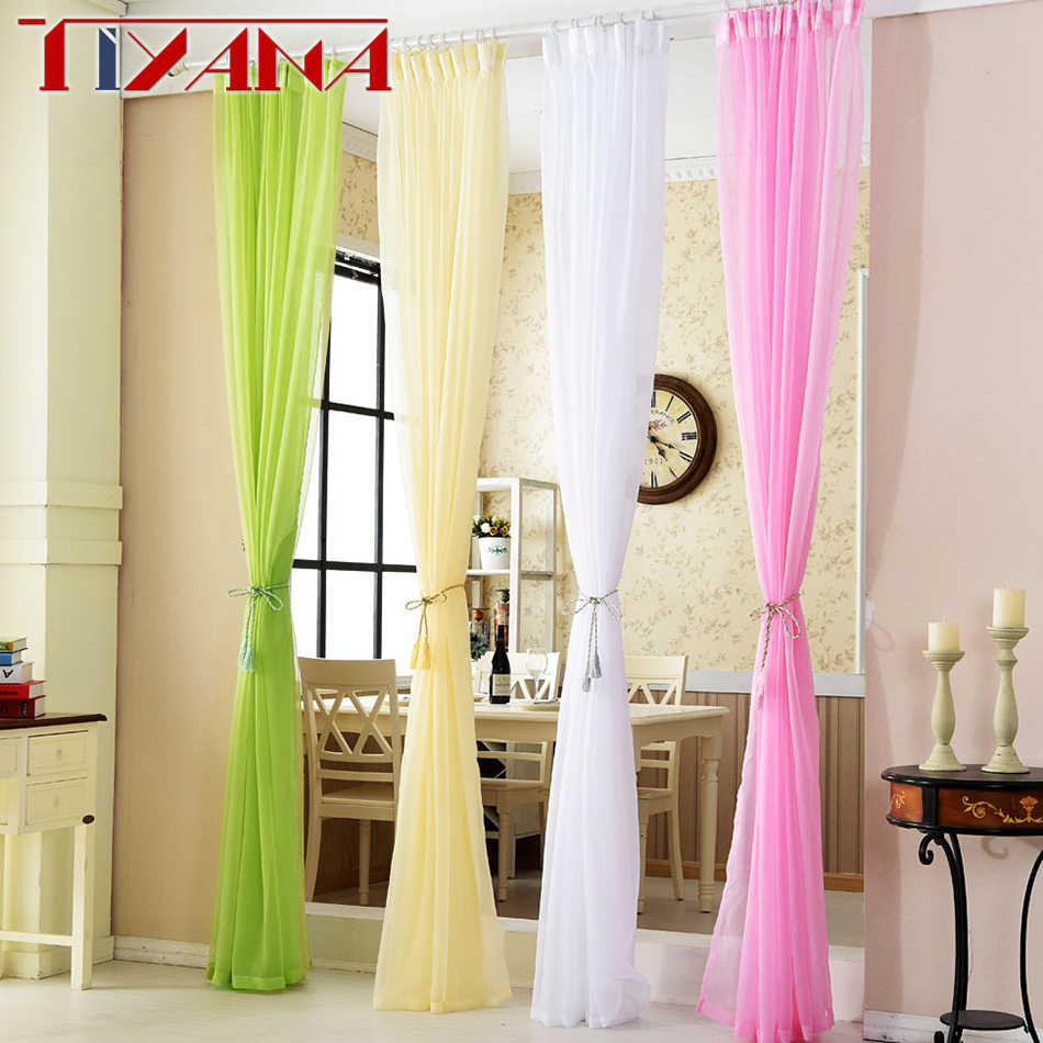 Colorful Solid Color Tulle Curtains Living Room Bedroom Balcony Wedding Decoration Curtain For Bedroom Door Windows 184&30