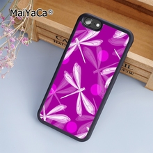 MaiYaCa Purple Pink Dragonfly fashion soft mobile cell Phone Case Cover For iPhone 7 Plus Custom DIY cases luxury shell(China)