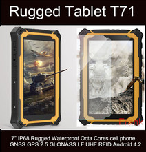 Original Rugee T71 Tablet PC 7Inch Cell Phone Octa Core IP68 waterproof 2GB/32GB 13MP 9650mAh GNSS GPS 2.5 GLONASS UHF RFID GPS(China)