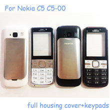 3.2 Mega High Quality Phone Housing Case For Nokia C5 C5-00 Housing Parts With Keyboard + Side Buttons+Silver Battery Cover