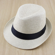 Solid Color Boys Girls Straw Fedora Hat Children Top Hat Topee Kids Summer Straw Sunhat Jazz Caps FH025(China)