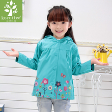 Children Spring Outwear Flower Hooded Jacket Boys Girls Windproof Keep Warm Rain Pants And Raincoat Clothing For 2-6 Age Baby(China)