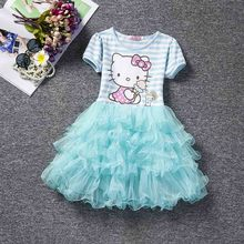 2017 girls hello kitty dresses for girl infant kids costume party baby snow Queen clothes clothing hellokitty princess dress
