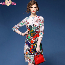 2017 Top brand Summer women 's elegant beautiful phoenix print Slik Casual dress slim sundress fashion vintage A-line dress