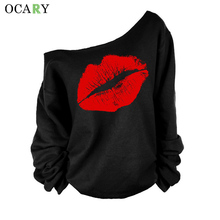 lip Printed Women Blouse One Shoulder Blouses Spring Summer Shirts Blusas Mujer  Haut Ete Punk Body Top Lady  Size XL