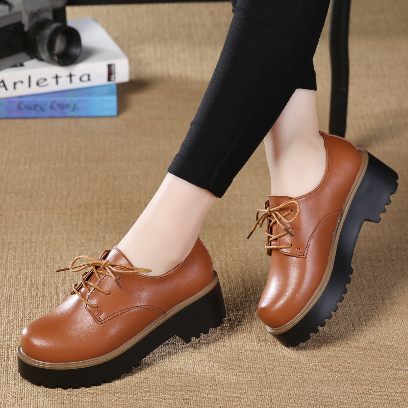 ROEGRE Women Oxfords Shoes 2017 Ladies PU Leather Creepers Casual Shoes Black Brown Fashion Women Shoes<br><br>Aliexpress