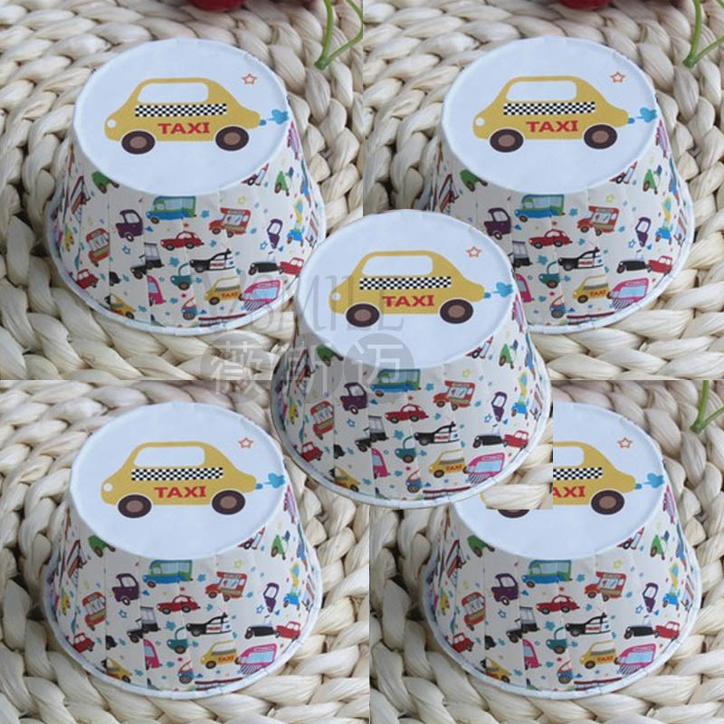 100Pcs 5X3.9X6.8cm Middle size High Quality wedding birthday party taxi truck cars bus grease-proof paper cake muffin cup(China (Mainland))