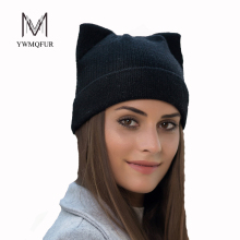 YWMQFUR Winter thicker hat for women high quality knitted wool beanies hat cat ear stylish cap 2017 new fashion lovely cap H123(China)