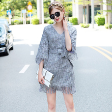 GO FURTHER 2017 Women 's autumn winter winter dress sexy ukraine V - collar five - point sleeves plus size dress women(China)