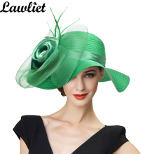 Summer Hats for Women Solid Satin Feather Floral Wide Brim Sun Hats Ladies Floppy Hats for Kentucky Derby Church Tea Party Dress(China)