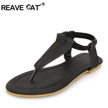 REAVE CAT   Gladiator T-strap Sandals Brand Flip-flops Flat Sole Sandals Summer Slippers Women Flats Ankle Strap Sandals Hot