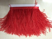 "50cm/lot 4-6"" Natural Red Ostrich Feather fringe Ostrich feather Trimming on Satin Header Carnival Party Dance Costume Craft"