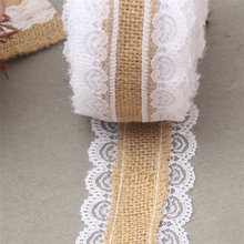 10M Natural Jute Burlap Hessian Lace Ribbon Roll + White Lace Vintage Wedding Decoration Party Decorations Crafts Decorative(China)