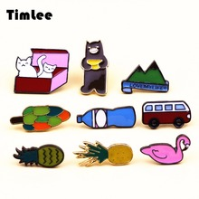 Timlee X126 Free shipping Contracted Style Restoring Ancient Ways Cute Fuji Auto Cat Bear Brooch Fashion Jewelry Wholesale