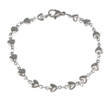 Stainless Steel Heart Chain Silver Love Charm Bracelets Women Man Link Bangle Jewelry Accessories Friendship Wristbands(China)