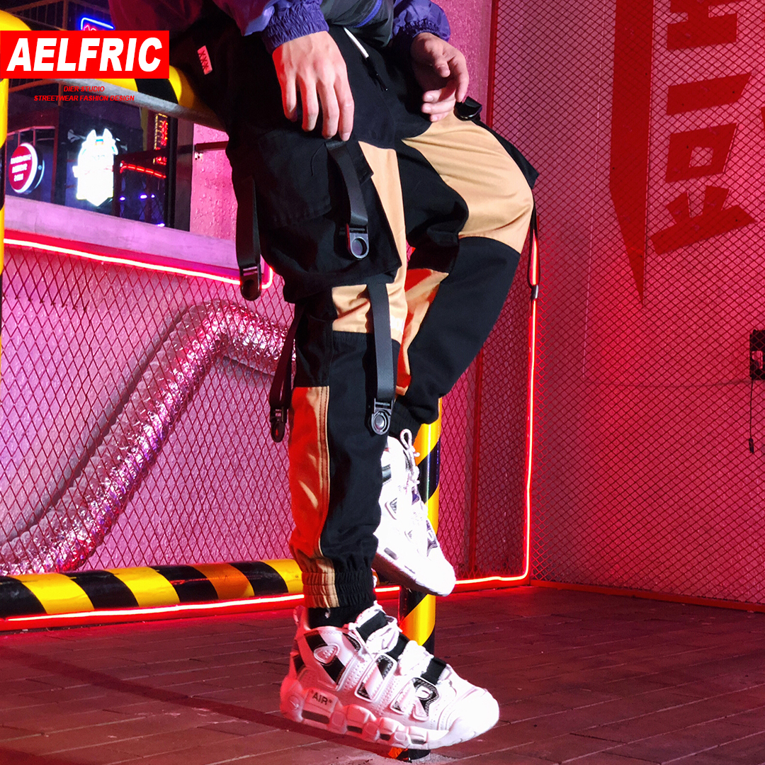 AELFRIC 2019 Spring Harem Joggers Men Letter Embroidery Casual Trousers Color Block Fashion Harajuku Streetwear Hip Hop Pants