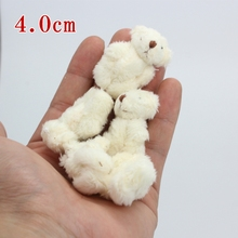 10pc 4colors 4.0cm mini Joint Teddy Bear Plush Stuffed Wedding BOX toy doll Garment & Hair Accessories decor doll(China)