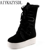 AIYKAZYSDL 2017 Women Girl Winter Warm snow Boots Increasing Height Wedge Platform mid calf boots booties ski creepers plus size(China)