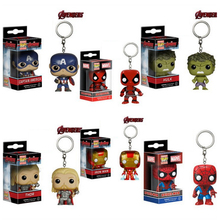 Marvel Action Figure Toy Keychain Spider  Iron Man Captain America Batman Hulk Thor Deadpool Vinyl Doll Collectible Model Box