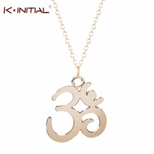 Kinitial 1Pcs Fashion Gold Silver Plated Yoga OM Pendant Necklace Meditation Om Symbol Necklaces Women Statement Chain Jewelry(China)