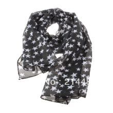 High Quality New Soft Chiffon Stars Print Scarf for women 2016 Fashion