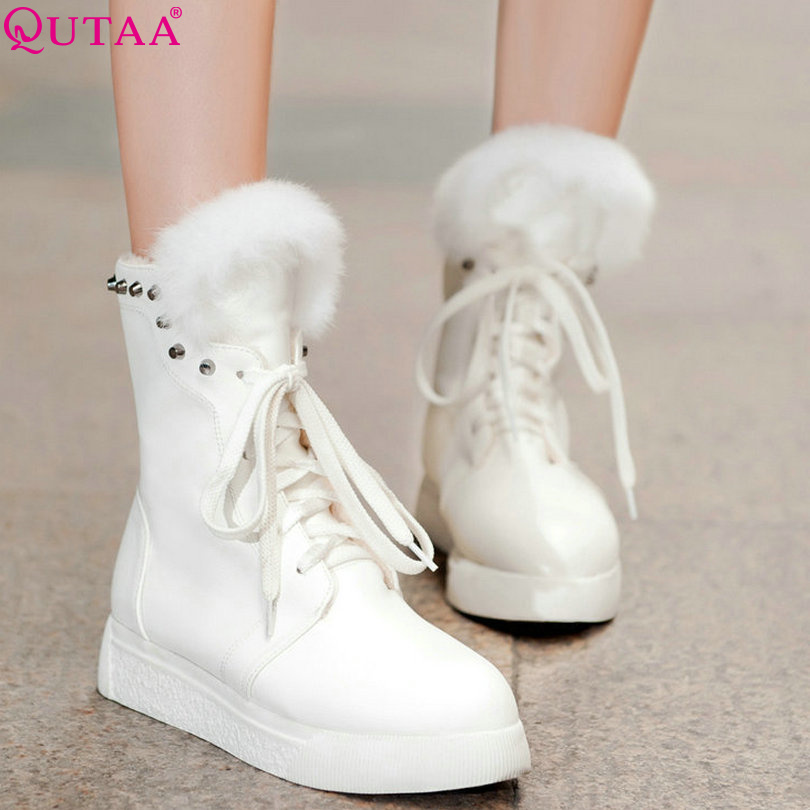 QUTAA White Shoes Lace Up Woman PU leather Flat Heel Women Ankle Boots Winter Shoes Ladies Snow Boots Size 34-39<br><br>Aliexpress