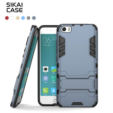 SIKAI for Xiaomi 5 Accessories Hybrid 2 In 1 Kickstand Slim Armor Cell Phone Cover for Xiao Mi 5 Full Protective Case Cover(China)