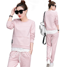 Spring Autumn Tracksuit Long Sleeve Stitching Sweatshirts Casual Suit Women Clothing 2 Piece Set Tops+Pants Sporting Suit Female